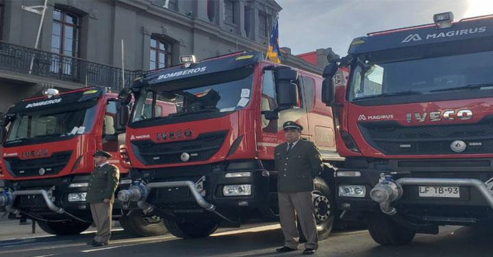 Bomberos de la Región de Magallanes recibieron siete nuevos carros bomba