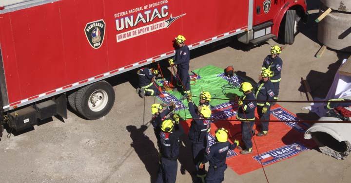 Grupo USAR Bomberos de Chile realizó ejercicio a un año de la acreditación