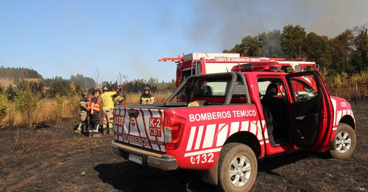 Cuerpo de Bomberos de Temuco registró incremento de incendios forestales