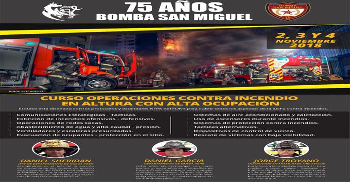 Bomba San Miguel dará curso y seminario de operaciones contra incendios en altura