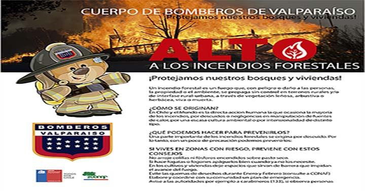 Lanzan campaña de prevención de incendios forestales en Valparaíso