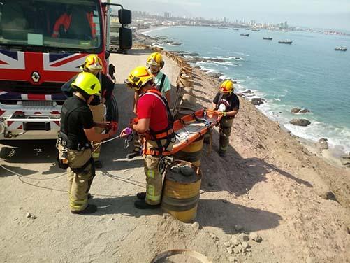Bomberos rescata a hombre que sufre rodada en el  Monumento al Marinero Desconocido