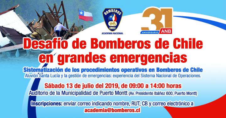 """Seminario: """"Desafio de Bomberos de Chile, en grandes emergencias"""""""