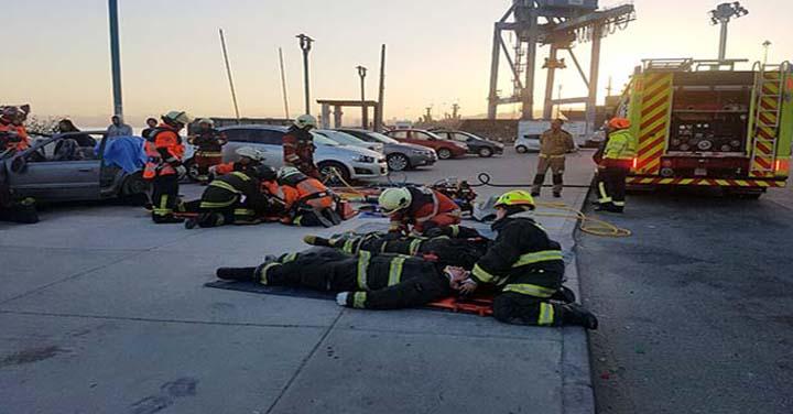 Bomberos de Valparaíso realizó simulacro de múltiples emergencias