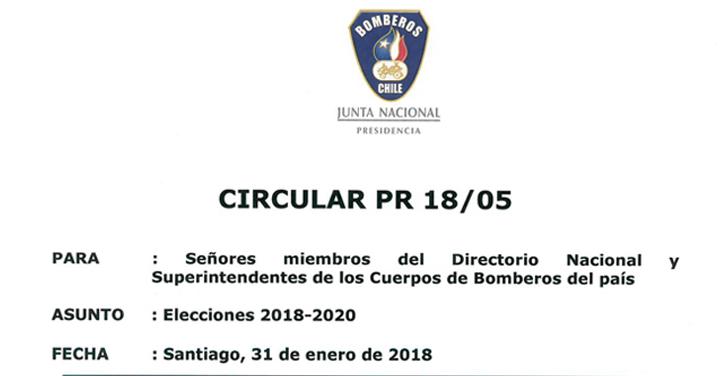 Circular PR 18/05 sobre elecciones 2018-2020